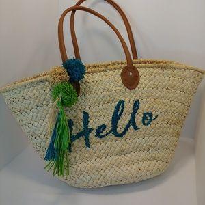 """Hello"" St. Tropez Woven Straw Beach Tote Bag"
